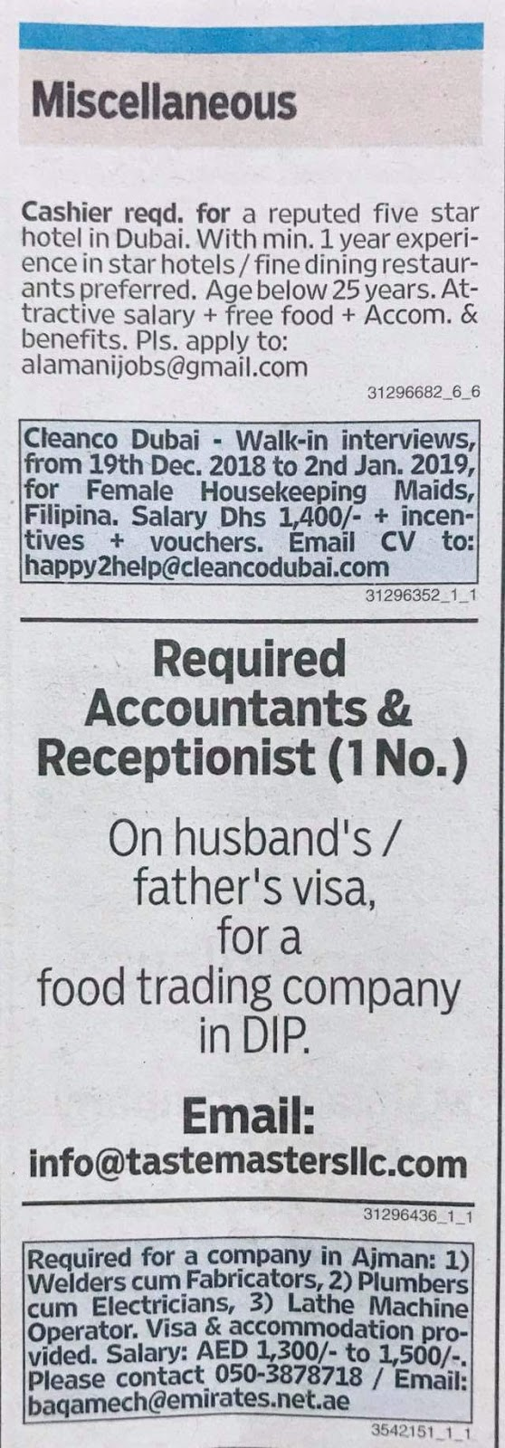 Required Receptionist,Accountants,Cashier for UAE Local
