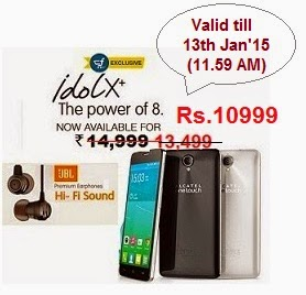 Flat Rs.4500 Off on Alcatel Onetouch Idol X+ with Free Premium JBL Headphone, Now for Rs.10999 Only @ Flipkart (Valid till 13th Jan'15- 11.59 AM)