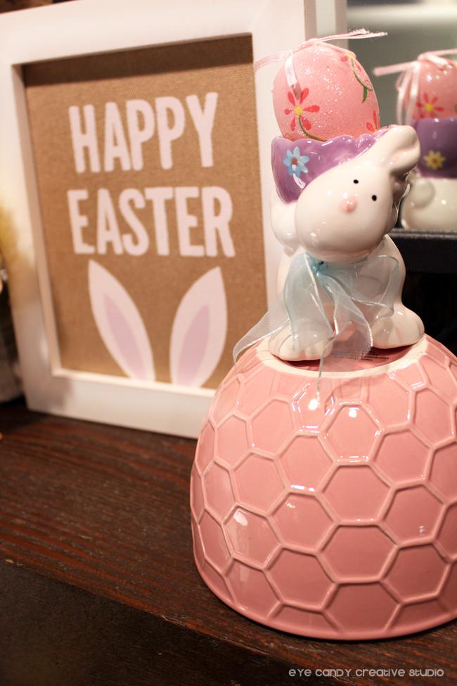 happy easter art, easter egg holder, bunny, honeycomb bowl