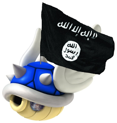 Devin ISIS Islamic State Winged Spiked Spiky Blue Shell drone bomb Mario Kart explosion Koopa Troopa turtle
