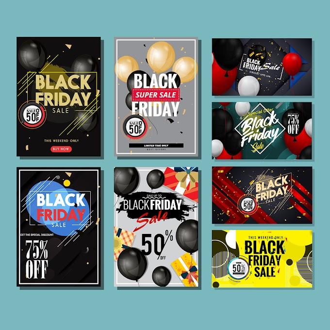 Black friday banners elegant balloon decor modern design Free vector