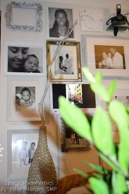 Portrait wall layout idea,white picture frames,mirrored frames,LED TV as photo display, By: JoFer