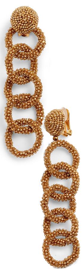 OSCAR DE LA RENTA Beaded Link Drop Earrings