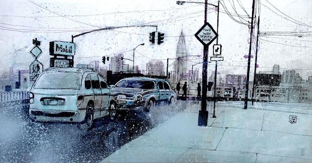 art drawing painting newyork nyc city cityscape winter