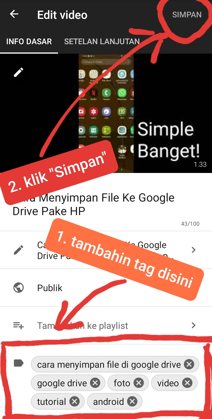 cara buat tag youtube di hp