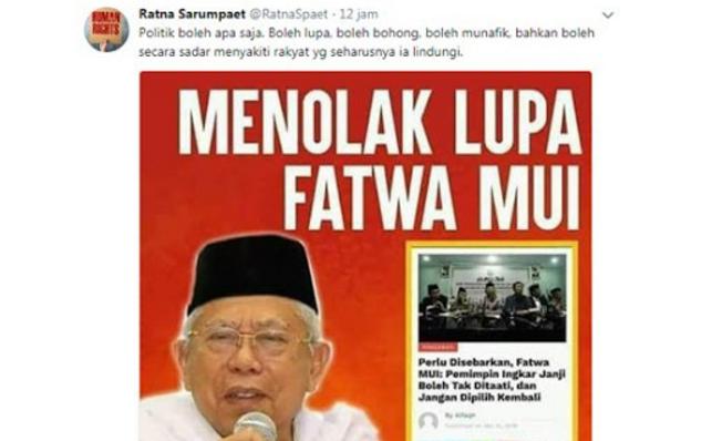 """Menolak Lupa! Ratna Sarumpaet Unggah Fatwa MUI """"Pemimpin Ingkar Jangan Pilih Kembali"""""""