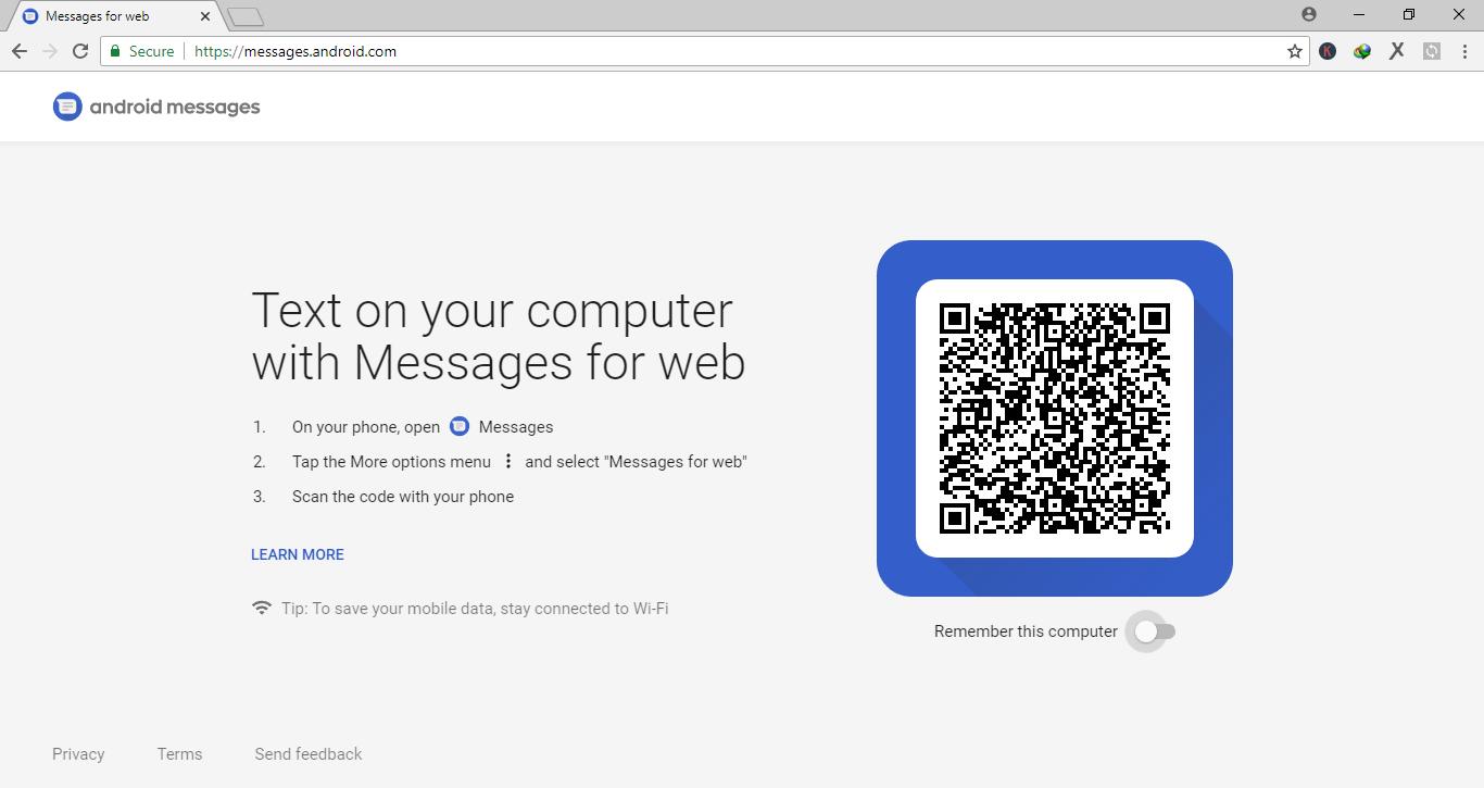 Mengirim pesan SMS melalui Browser dengan menggunakan Fitur Android Messages For Web