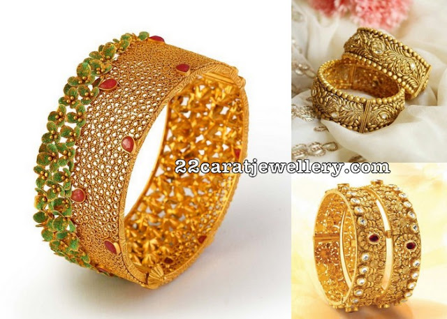 Broad Bangles with Uncut Diamonds