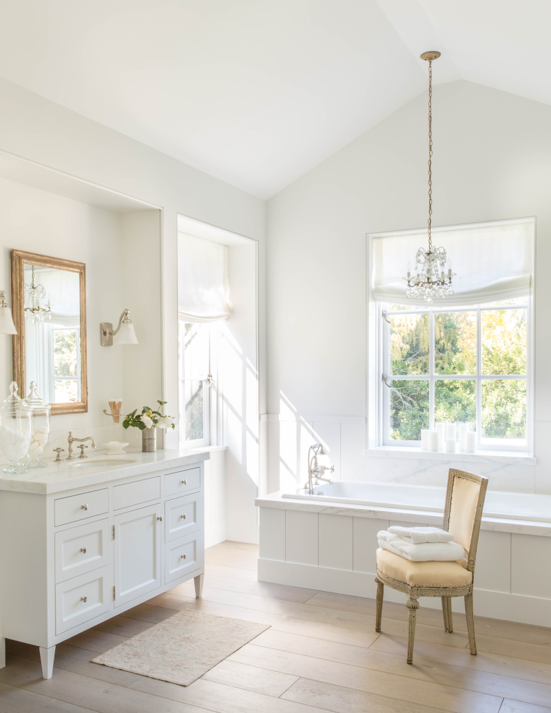image result for traditional modern farmhouse luxurious white bathroom California renovation Giannetti