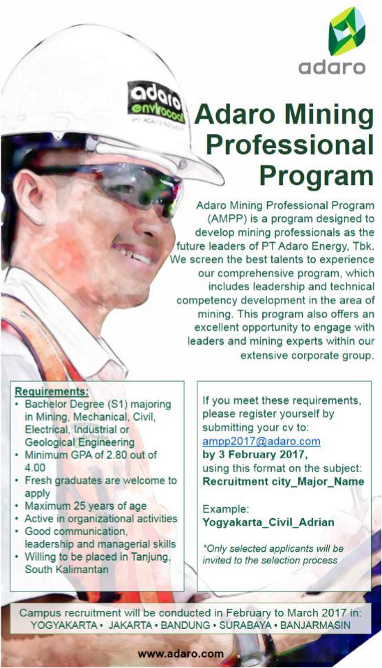 Ingin Kerja di Kalimantan ? PT Adaro Energy Tbk Membuka Kesempatan