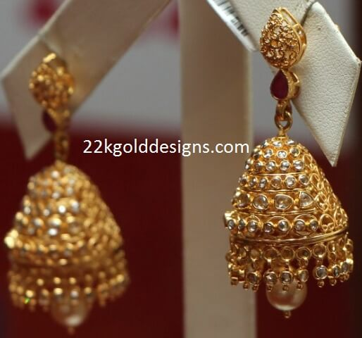 Reliance Jewels Uncut Diamond Jhumka Designs