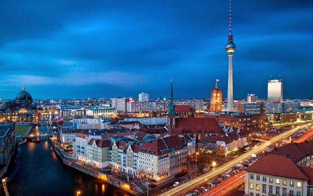 Vista de Berlim à noite