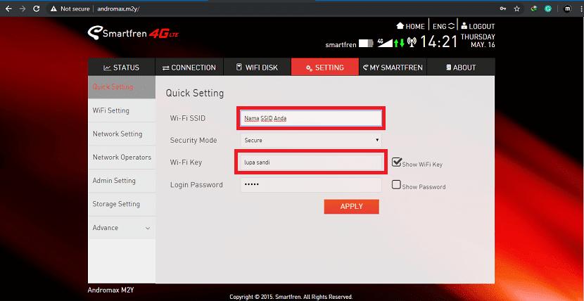 Cara Mengganti Nama SSID dan Password MiFi Andromax
