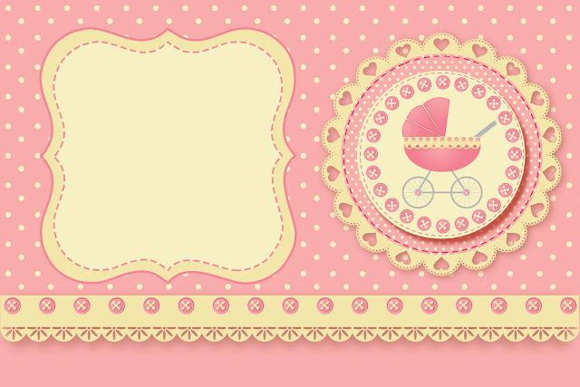 Carrinho De Bebê Menina Kit Completo Com Molduras Para Convites