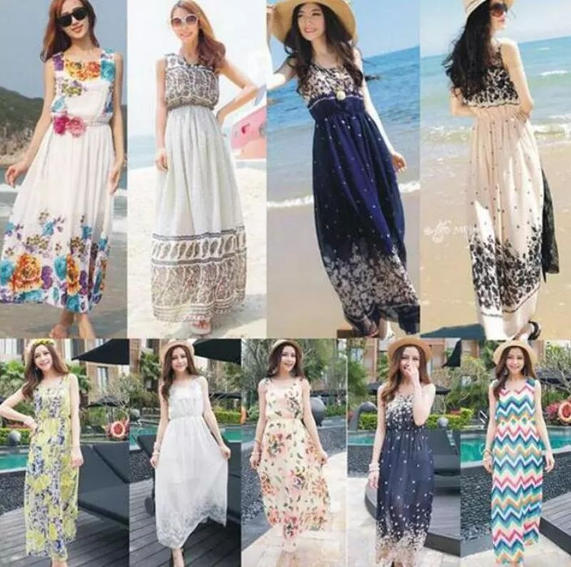 Summer Style Floral Print Maxi Dresses Women Beach Club Casual Loose Chiffon Sleeveless O-Neck Long Elegant bohemian dress