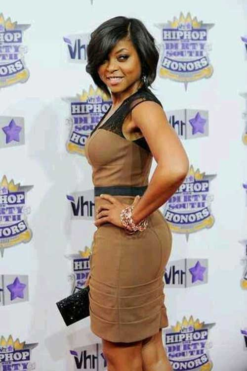 Latest Taraji P. Henson Thick Straight Bob Hairstyle