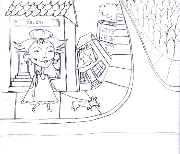 Trendy Girl Walks a Corgi Graphite Illustration Art Sketch