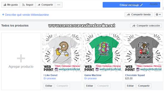 Los productos en Facebook