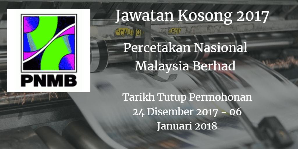 Jawatan Kosong PNMB 24 Disember 2017 - 06 Januari 2018