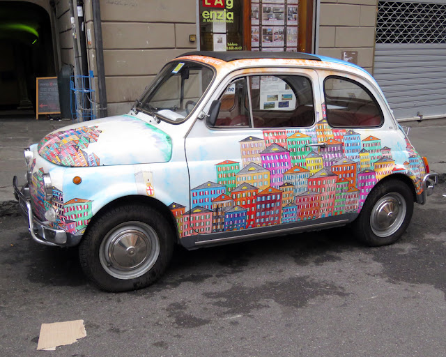 Nicely decorated Fiat 500, Via San Lorenzo, Genoa