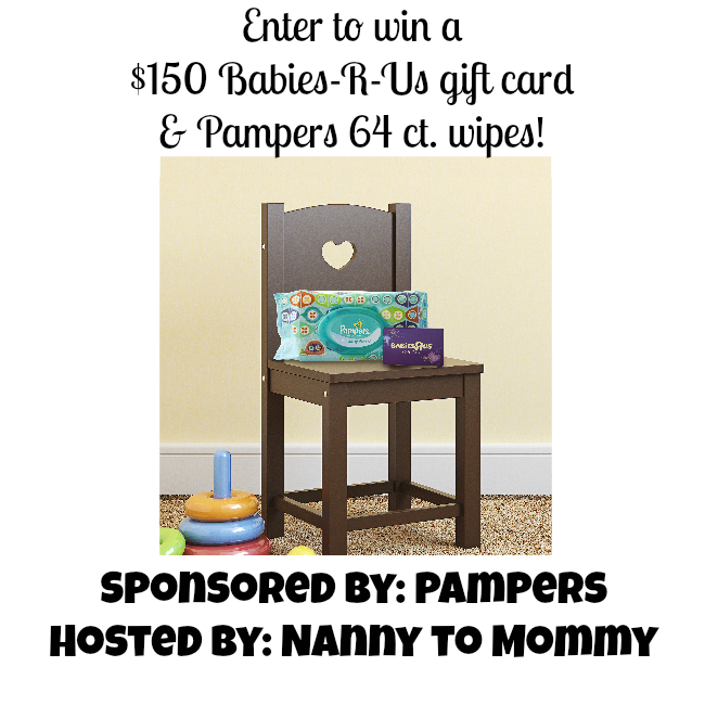 Enter to #win a $150 Babies-R-Us Gift Card & a 64 ct. of Pampers wipes! Ends 7/8