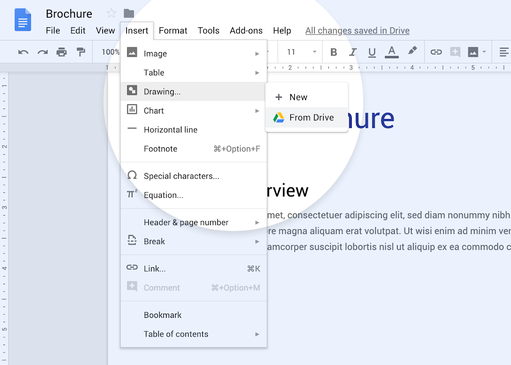 Google Drawings can now be actively embedded into Google Docs