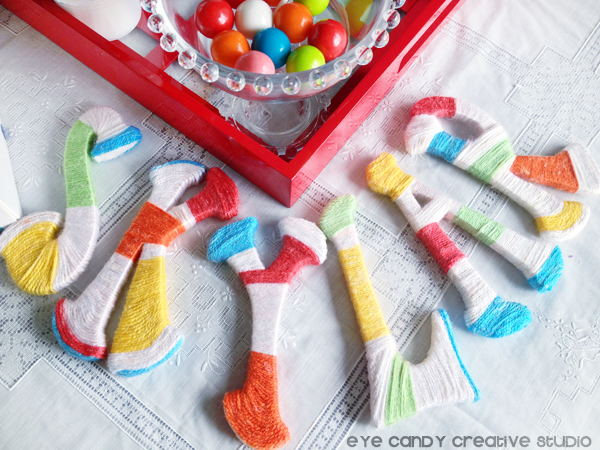 yarn wrapped letters, name letters wrapped in yarn, rainbow party decor