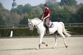 White horse being ridden in an outdoor school with a rider wearing red