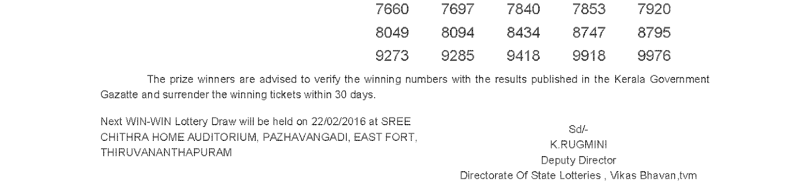WIN WIN Lottery W 347 Result 15-02-2016