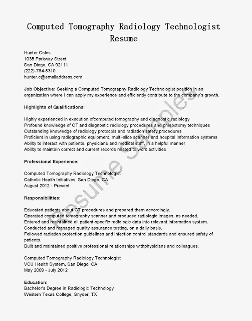 great sample resume  resume samples  ct scan technologist