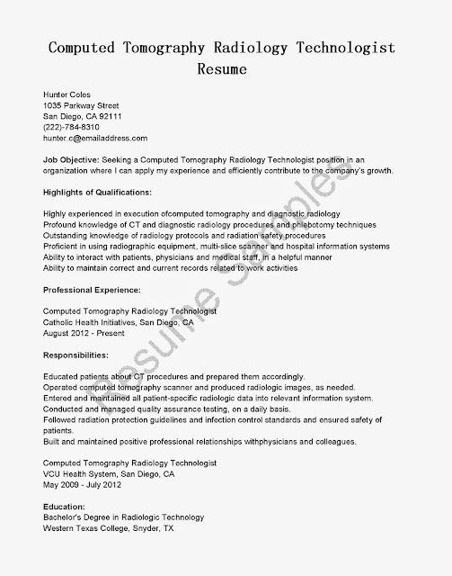 Great Sample Resume Resume Samples CT Scan Technologist Resume Sample