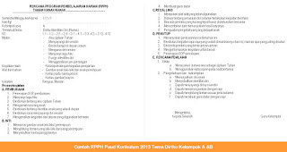 Contoh RPPH Paud Kurikulum 2013 Tema Diriku Kelompok A &B