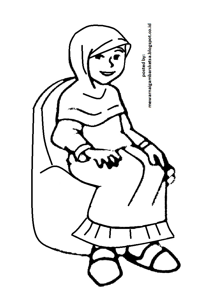 Mewarnai Gambar Mewarnai Gambar Sketsa  Kartun Anak Muslimah 9