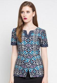 Model baju batik wanita terbaru lengan pendek modern