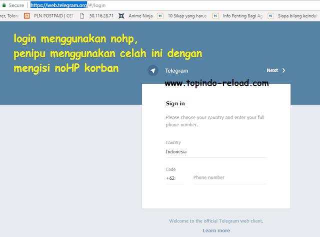 tampilan telegram web ala admin topindo