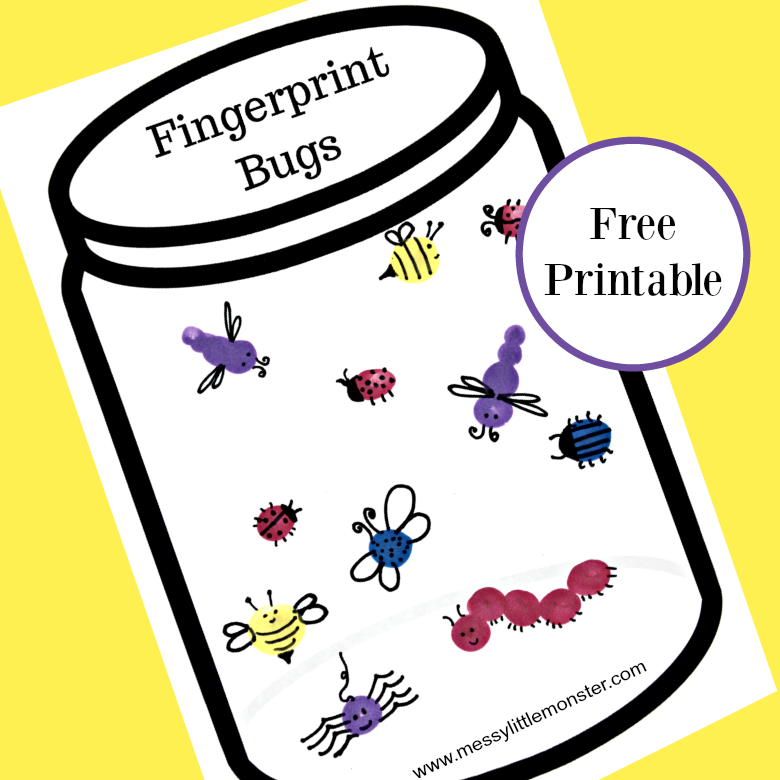 fingerprint bug jar craft messy little monster