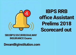 IBPS RRB Office Assistant Prelims 2018 Scorecard Out- Dream Big Institution