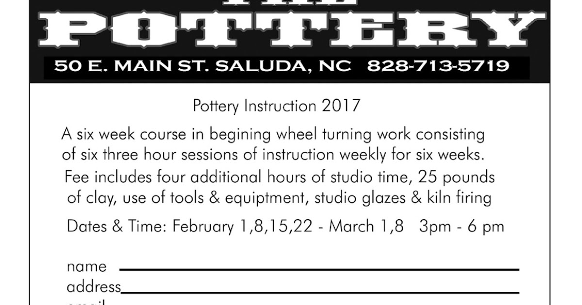 Clay Club Introduction To Pottery Course At The Pottery In Saluda