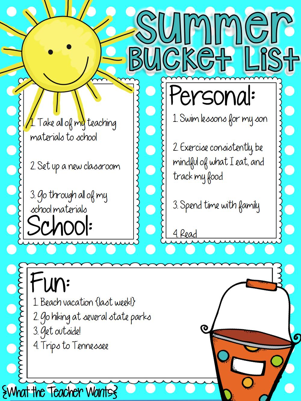 Summer Bucket List - For the Love of Teaching