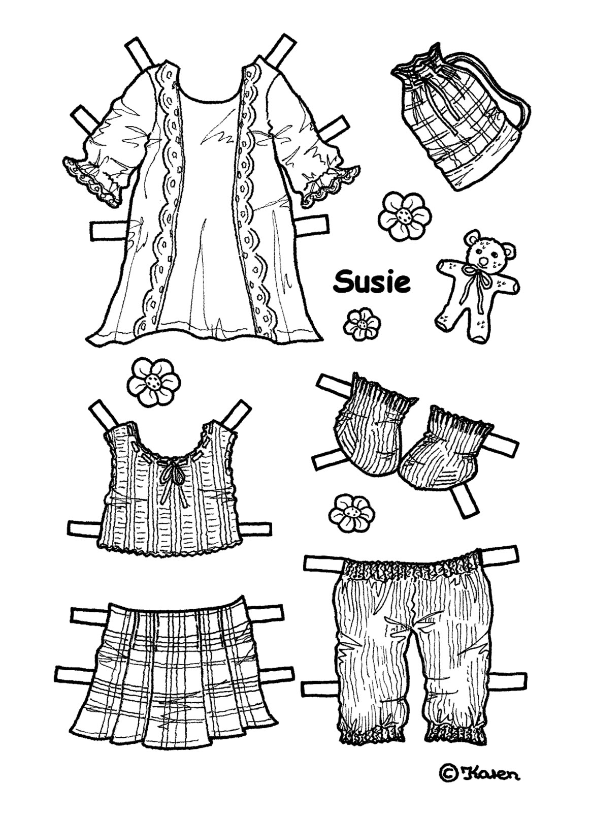 Karen`s Paper Dolls: Susie 1-5 Paper Doll to Print and
