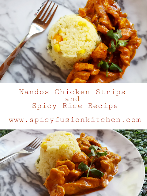 nandos, nandos chicken, nandos chicken strips, spicy rice, nandos chicken strips and spicy rice, recipe, nandos recipe, food, food pictures, food recipe, friday lunch, jummah lunch, spicy food, fusion food, spicy fusion kitchen, pinterest, pinterest food, food stylist, food styling, food pictures, food photography, food blog, food blogger, marble plates