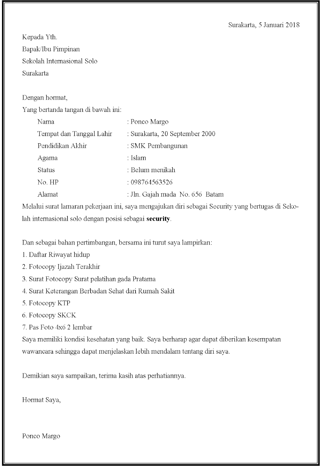 Contoh surat lamaran kerja security di sekolah