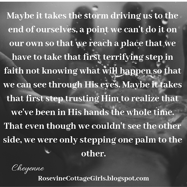 Maybe it takes the storm driving us to the end of ourselves, a point we can't do it on our own so that we reach a place that we have to take that first terrifying step in faith not knowing what will happen so that we can see through His eyes. Maybe it takes that first step trusting Him to realize that we've been in His hands the whole time. That even though we couldn't see the other side, we were only stepping one palm to the other.