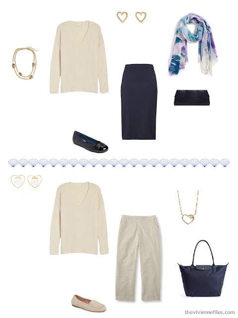 2 ways to wear a beige sweater from a 4 by 4 Travel Capsule Wardrobe