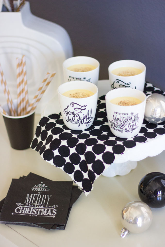 The prettiest porcelain egg nog cups with Christmas sayings!