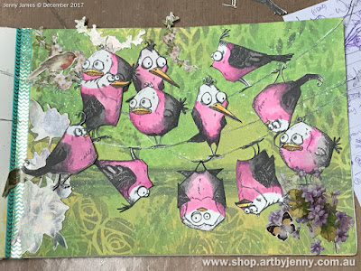 placement for the Galahs made using Tim Holtz Bird Crazy Stamps