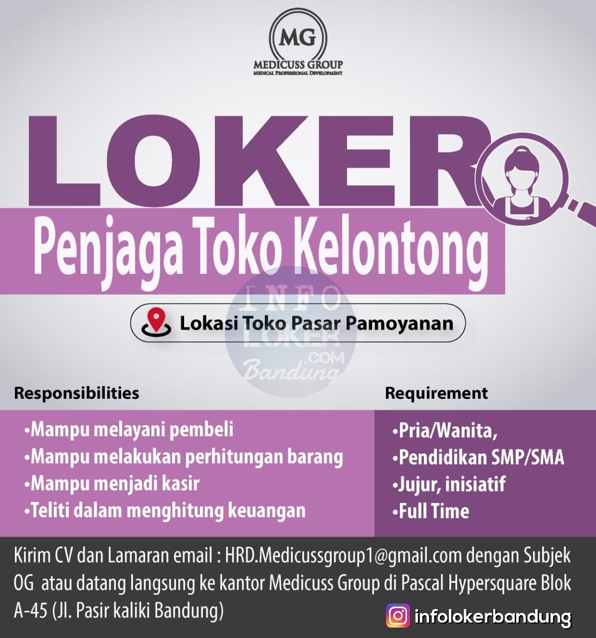 Lowongan Kerja Penjaga Toko Kelontong Medicuss Group Bandung Agustus 2018