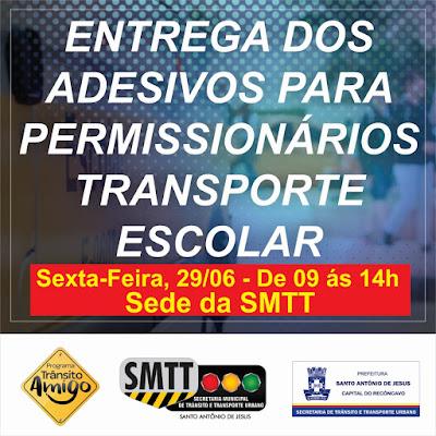 Permissionários de transporte escolar cadastrados no Sistema Municipal de Transportes receberão identificação nesta sexta (29)