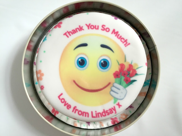 Baker days letterbox thank you emoji cake