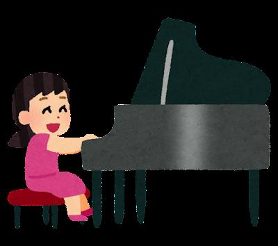 ピアノを弾く女の子のイラスト
